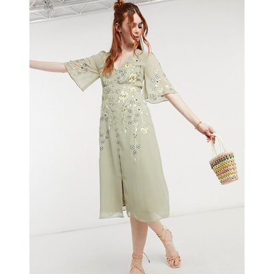 Hope & Ivy embroidered floral plunge midi tea dress in sage green