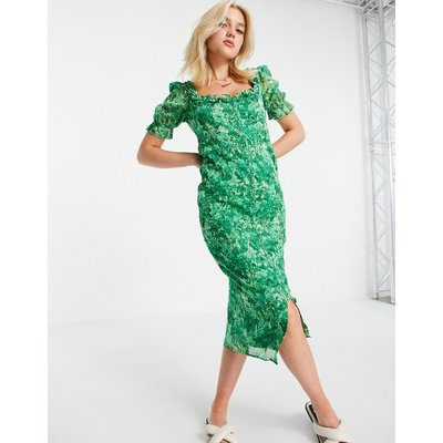 Hope & Ivy Made with Liberty Fabric midi tea dress in green floral