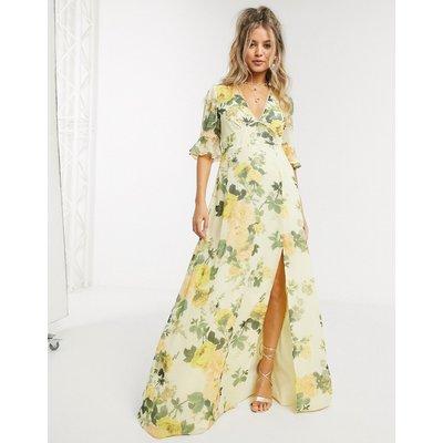 Hope & Ivy maxi tea dress in lemon floral-Multi