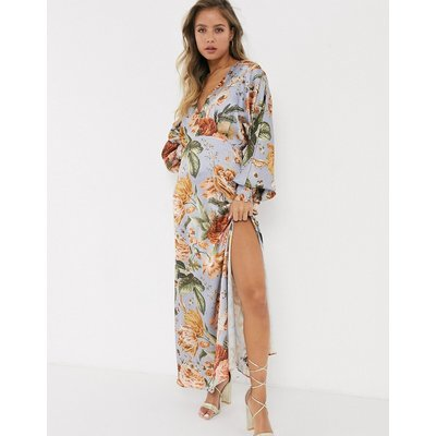 Hope & Ivy maxi tea dress in tapestry floral-Multi