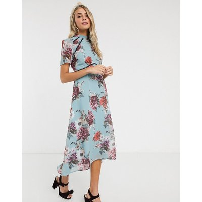 Hope & Ivy midi dress with open back in grey floral-Multi