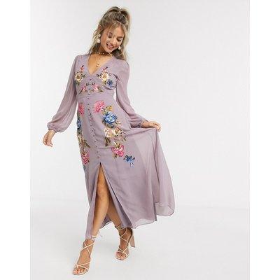 Hope & Ivy midi embroidered tea dress-Multi