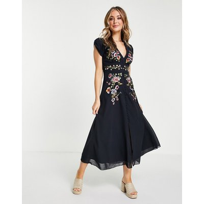 Hope & Ivy plunge floral embroidered midi tea dress in navy