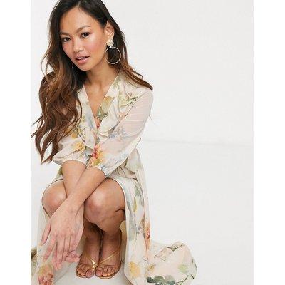 Hope & Ivy plunge midaxi tea dress in meadow floral-Multi