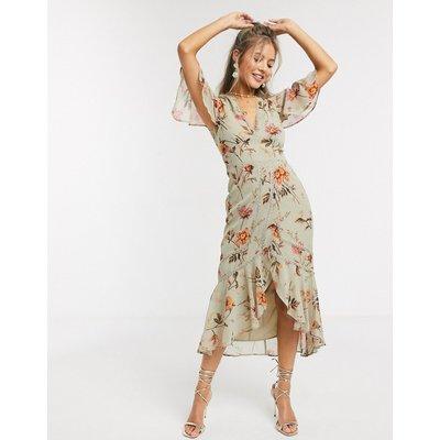 Hope & Ivy plunge midi tea dress in meadow floral-Multi