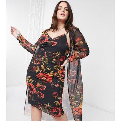 Hope & Ivy Plus 90s slip dress & duster set in black floral-Multi