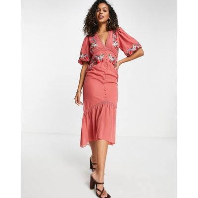 Hope & Ivy puff sleeve embroidered midi tea dress in clay red