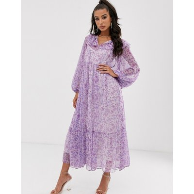 House Of Stars maxi floral smock dress with tie detail and full skirt-Purple