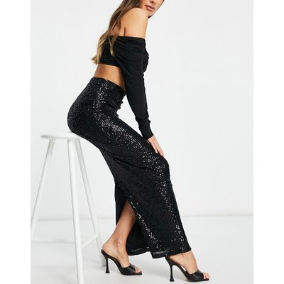 I Saw It First sequin maxi skirt in black