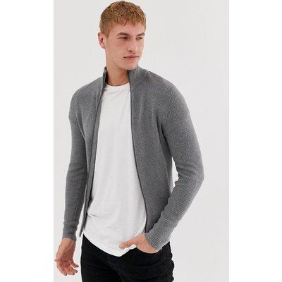 JACK & JONES Jack and Jones Essentials – Gerippte Strickjacke mit Reißverschluss-Grau