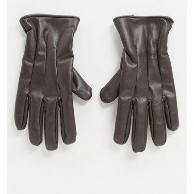 Jack & Jones – Braune Handschuhe aus Kunstleder