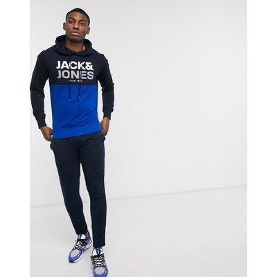 Jack & Jones Core – Kapuzenpullover mit Bahnendesign-Navy