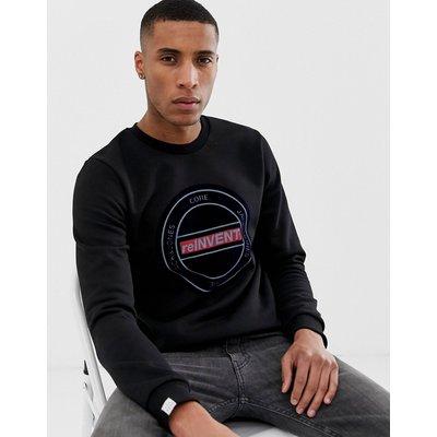 Jack & Jones – Core – Sweatshirt mit Rundhalsausschnitt und Print auf der Brust-Schwarz