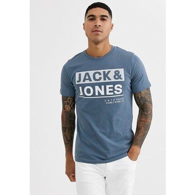 Jack & Jones – Core – T-Shirt mit bedruckter Vorderseite-Blau