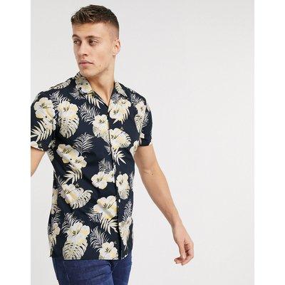 Jack & Jones – Essentials – Kurzärmliges Hemd mit tropischem Muster-Navy