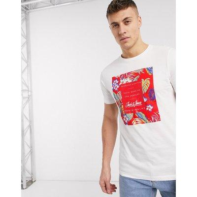 Jack & Jones – Essentials – T-Shirt mit tropischem Motiv-Weiß