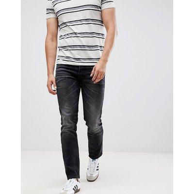 Jack & Jones Intelligence – TIM – Enge, schwarze Jeans mit Aufschlägen