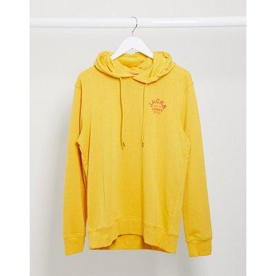Jack & Jones – Kapuzensweatshirt mit Logo auf der Brust-Gelb