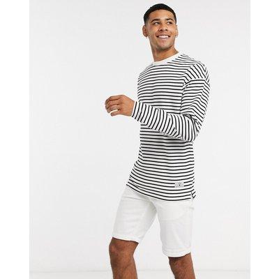 Jack & Jones – Klassisches, schwarz gestreiftes Shirt mit langen Ärmeln-Weiß