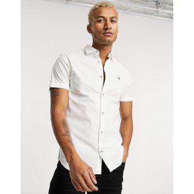 Jack & Jones – Kurzärmliges, schmal geschnittenes Hemd in Weiß