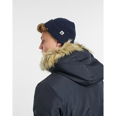 Jack & Jones – Kurze Mütze aus Rippstrick in Navy