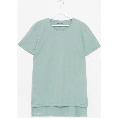Jack & Jones – Lockeres T-Shirt mit hinten abfallendem Saum-Grün