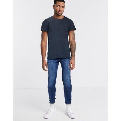 Jack & Jones – Lockeres T-Shirt mit hinten abfallendem Saum-Schwarz