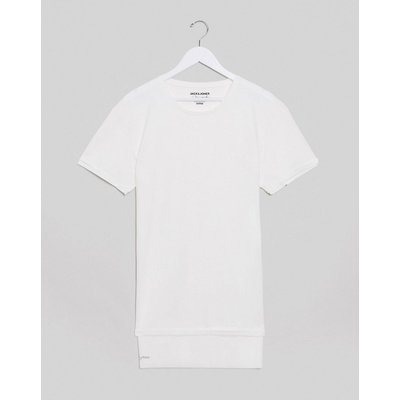 Jack & Jones – Lockeres T-Shirt mit hinten abfallendem Saum-Navy