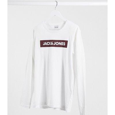 Jack & Jones Originals – Langärmliges Shirt mit Logo auf der Brust-Weiß