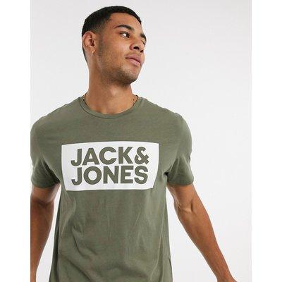 Jack & Jones – Originals – T-Shirt mit Logo auf der Brust-Grün