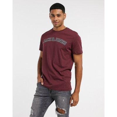 Jack & Jones – Originals – T-Shirt mit Logo auf der Brust-Rot