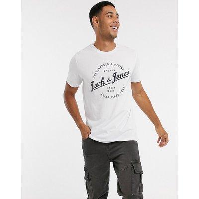 Jack & Jones Originals – T-Shirt mit rundem Logo-Weiß