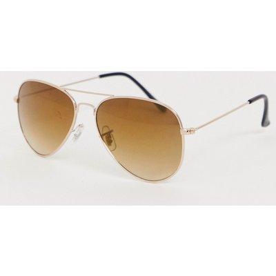Jack & Jones – Pilotenbrille aus goldfarbenem Metall