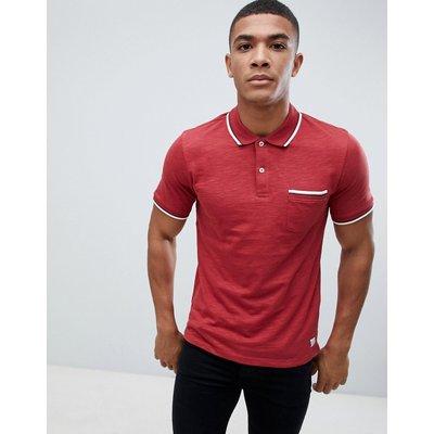 Jack & Jones – Premium – Polohemd mit Tasche und Zierstreifen am Kragen-Rot