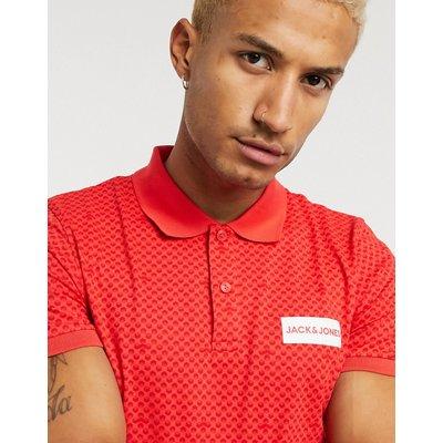 Jack & Jones – Rotes Polohemd mit kleinem Box-Logo und Print