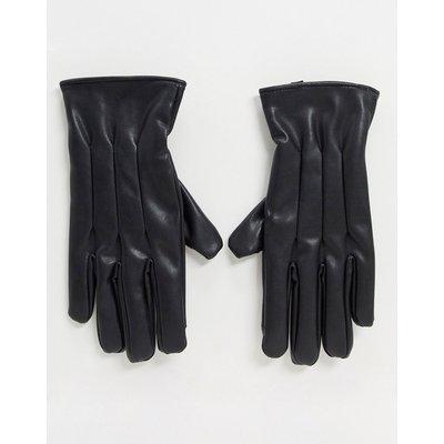 Jack & Jones – Schwarze Kunstlederhandschuhe