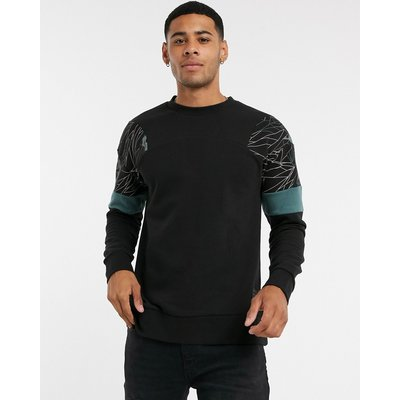 Jack & Jones – Schwarzes Sweatshirt mit abstraktem Muster an den Schultern