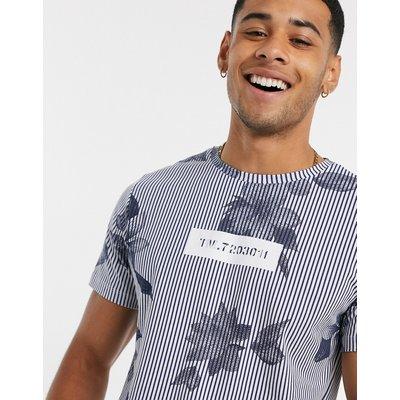 Jack & Jones – T-Shirt in Blau mit Streifen und Blumenmuster
