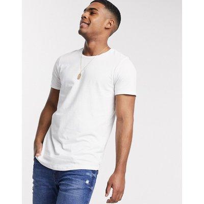 Jack & Jones – T-Shirt mit Bogensaum-Weiß