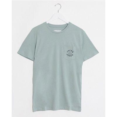 Jack & Jones – T-Shirt mit Brusttasche und Logo-Grün