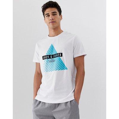Jack & Jones – T-Shirt mit geometrischem Logodesign-Weiß