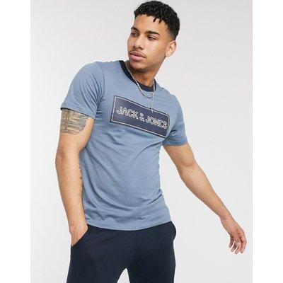 Jack & Jones – T-Shirt mit Logoprint-Blau