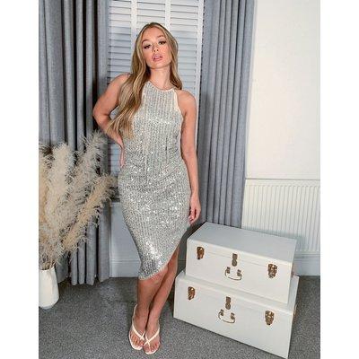 Jaded Rose high neck fringe dress in silver