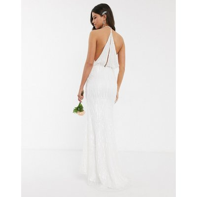 Jarlo bridal fringe sequin maxi dress in ivory-Cream