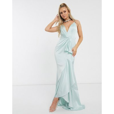 Jarlo plunge ruffle maxi dress in mint-Green