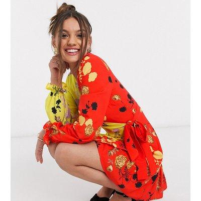 John Zack Petite exclusive wrap front frill contrast tea dress in multi floral print