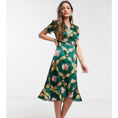 John Zack Petite wrap front midi dress in green rose print-Multi