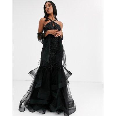 Jovani halterneck dress with ruffle skirt-Black