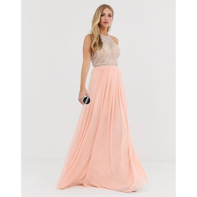 Jovani high neck embellished detail maxi dress with a line skirt-Pink