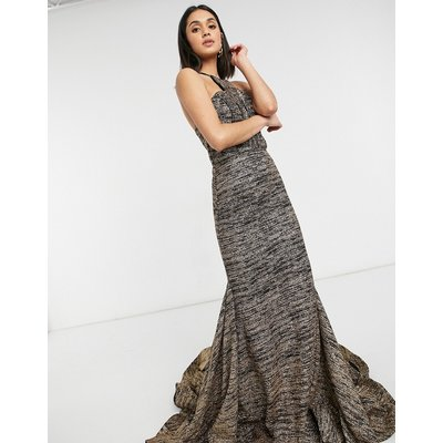 Jovani racer neck maxi dress in black and gold-Pink